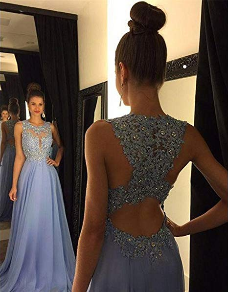 Lace Open Back Sexy Blue Chiffon Cheap A-Line Beads Sleeveless Scoop Prom Dresses RS942