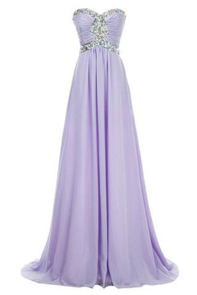 Long Chiffon Prom Dress 2019 Evening Gown Crystal Beaded RS224
