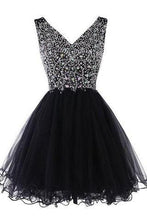 Load image into Gallery viewer, Sparkly Classy Short Sleeveless Cute V-Neck Beaded Tulle Crystals Homecoming Dresses RS772