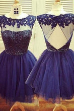 Load image into Gallery viewer, Homecoming Dress Navy Blue Homecoming Dress Short Prom Dress Prom Gown RS438