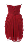 Strapless Chiffon Short Bridesmaid Dresses Prom Gowns RS234