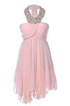 Sweetheart Pretty Short Halter Jewel Bead Prom Dresses Uneven Hem Party Dresses RS762