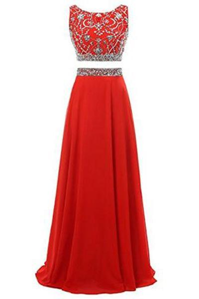 Long Prom Dress 2019 Two Pieces Maxi Chiffon Evening Gowns with Beads RS197