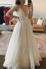 Load image into Gallery viewer, A-Line Spaghetti Straps V-Neck Floor Length Ivory Long Beach Wedding Dresses