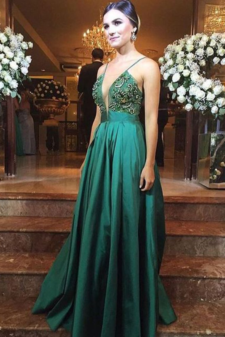 2019 Prom Dresses A Line Spaghetti Straps With Beading Satin Sweep Train