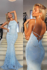 2019 Sexy Open Back Spaghetti Straps Prom Dresses Mermaid Sweep Train Lace