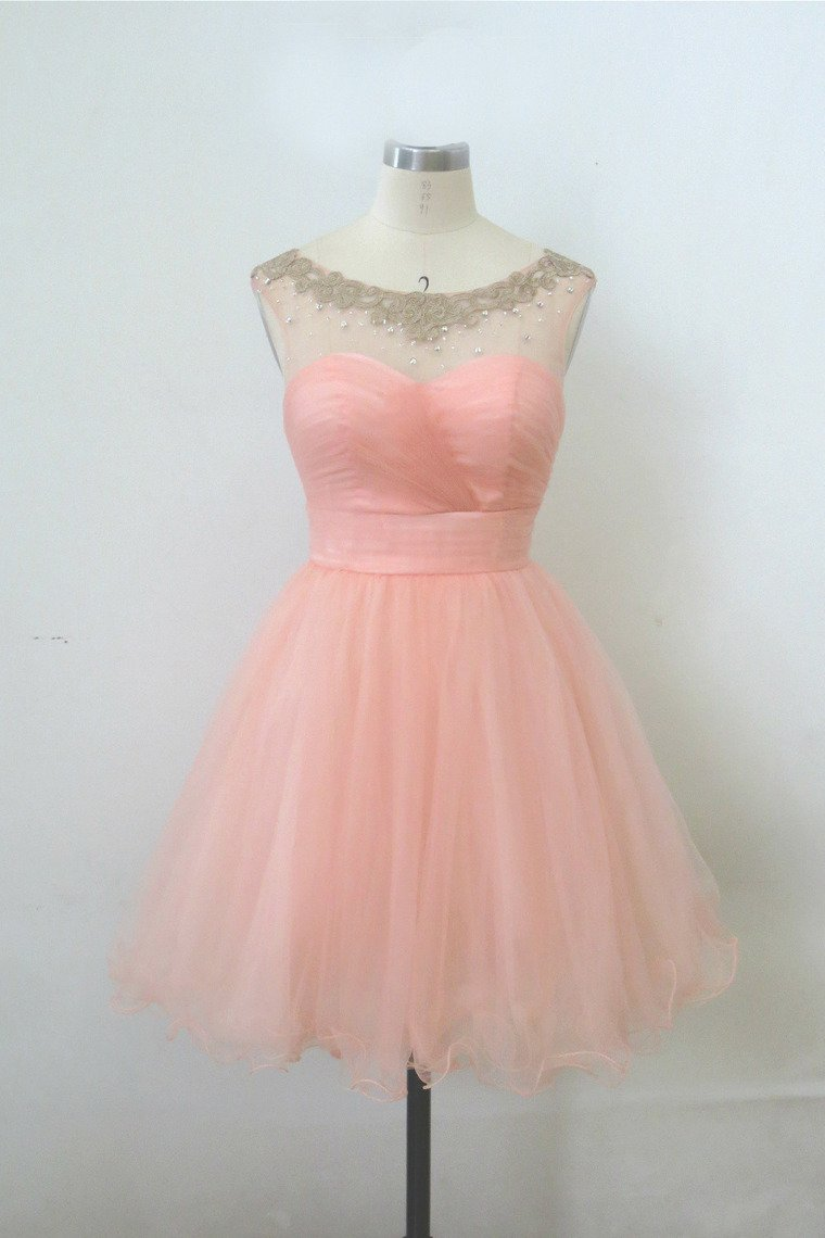 2019 Homecoming Dresses Bateau A Line Short/Mini With Beads And Ruffles