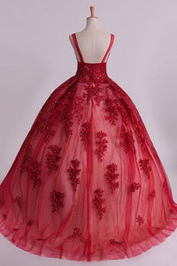2019 Sexy Bateau A-Line Prom Gown Sweep Train With Beads And Applique Burgundy