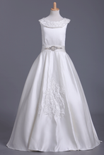 Load image into Gallery viewer, Ankle Length Scoop Flower Girl Dresses A Line Satin With Embroidery And Sash