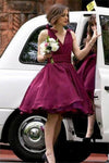Ball Gown V-Neck Elegant Modest Cocktail Dresses Bridesmaid Dresses
