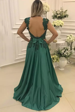Load image into Gallery viewer, 2019 A Line Straps Prom Dresses Open Back Satin With Applique And Beads