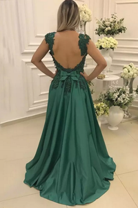 2019 A Line Straps Prom Dresses Open Back Satin With Applique And Beads