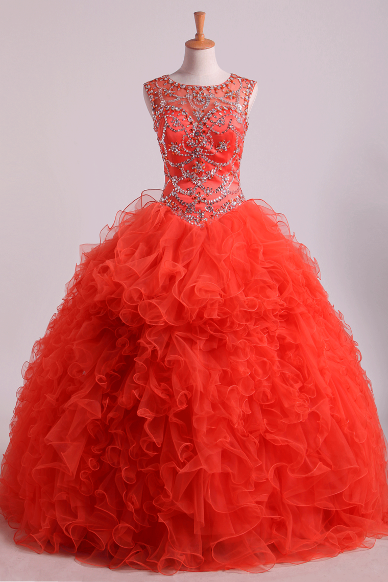 2019 Scoop Quinceanera Dresses Tulle Ball Gown Floor Length With Beading