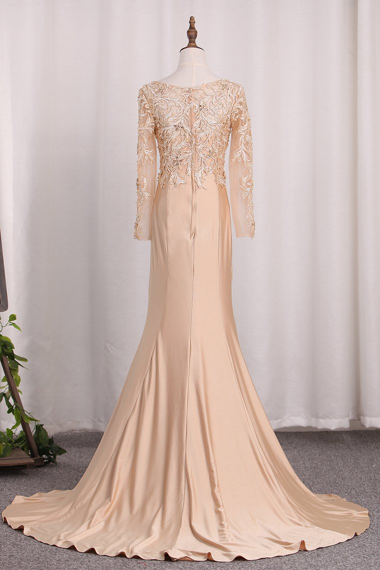 2019 Mermaid Spandex V Neck Long Sleeves Prom Dresses With Applique And Beads