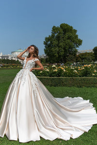 2019 Satin Scoop A Line Wedding Dresses With Handmade Flower And Sash Chapel Train
