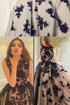 New Arrival A-Line Round Neck Black Lace Long Prom Dress 9052