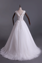 Load image into Gallery viewer, 2019 Wedding Dresses Off Shoulder With Handmade Flowers And Chapel Train
