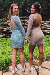 Two Piece Backless Beaded Homecoming Dress With Long Sleeves