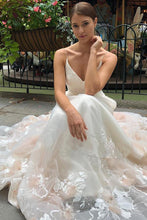 Load image into Gallery viewer, Tulle V Neck Embroidery Long Spaghetti Straps Wedding Dresses, Bridal Dresses SRS15444