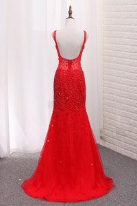 2019 Straps Mermaid Prom Dresses Tulle With Beads And Rhinestones