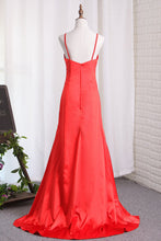 Load image into Gallery viewer, 2019 Sexy Sheath/Column Red Slit Evening Dresses Elastic Satin