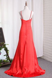 2019 Sexy Sheath/Column Red Slit Evening Dresses Elastic Satin