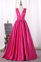 Load image into Gallery viewer, 2019 V Neck Satin Prom Dresses With Ruffles Bodice A Line