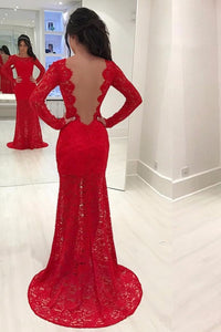 2019 New Arrival Scoop Long Sleeves Mermaid Lace Evening Dresses