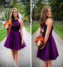 Load image into Gallery viewer, Purple Short Halter Neck Backless Beads Tulle Juniors Mini Sweet 16 Homecoming Dress RS433