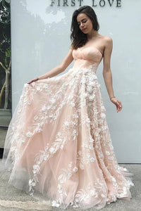 Princess Sweetheart Blush Pink Long Prom Dress with Appliques, Dance SRS20466