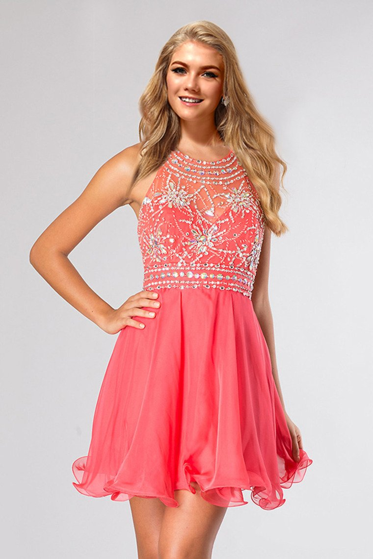 2019 Halter A Line Sexy And Cute Homecoming Dress Short/Mini Chiffon&Tulle Beaded