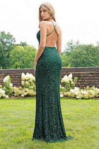 2019 Sexy Trumpet/Mermaid Sequins Open Back Prom Dress Slit
