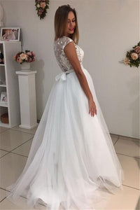 2019 Scoop A Line Wedding Dresses Tulle With Applique Sweep Train