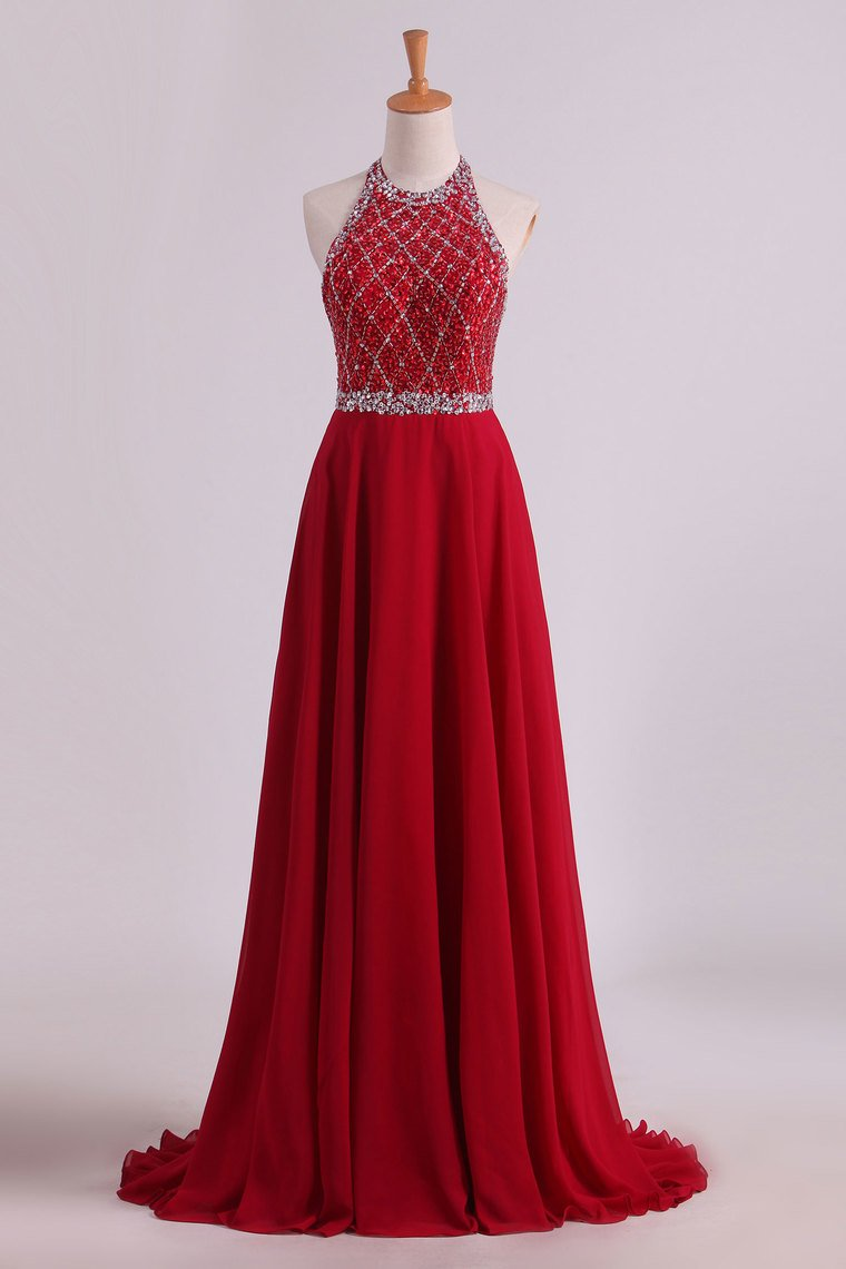 2019 A Line Halter Open Back Prom Dresses Sweep Train Chiffon & Tulle With Beading