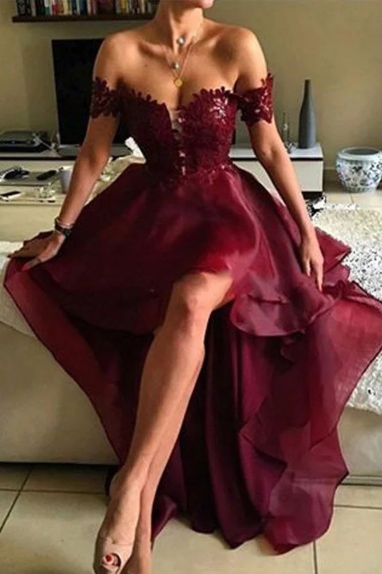 2019 Red A-Line Sleeveless Off-The-Shoulder Asymmetrical Applique Organza Evening Dresses