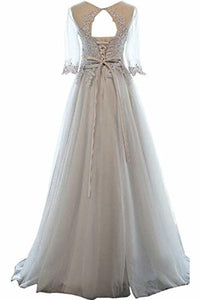 A-Line Mid-Length Sleeves Round Neck Lace  Tulle Ball Gown Beading Evening Long Dress