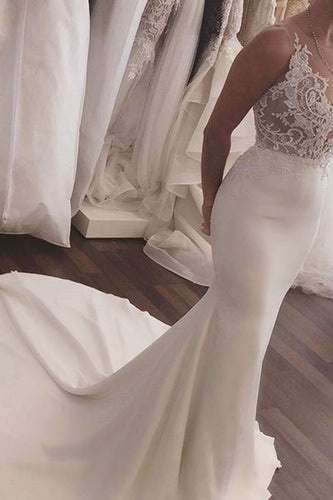 2019 Mermaid Scoop Satin With Appliques Wedding Dresses Court Train
