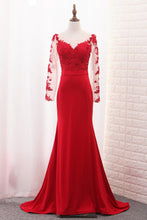 Load image into Gallery viewer, 2019 Mermaid Scoop Spandex Long Sleeves Prom Dresses With Applique Sweep Train