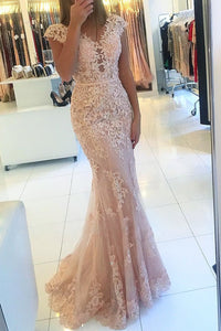 2019 Prom Dresses Mermaid/Trumpet Tulle With Appliques And Sash