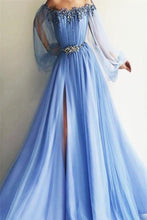 Load image into Gallery viewer, Newest Long Beading Lace Tulle A-Line Blue Prom Dresses Evening Dresses