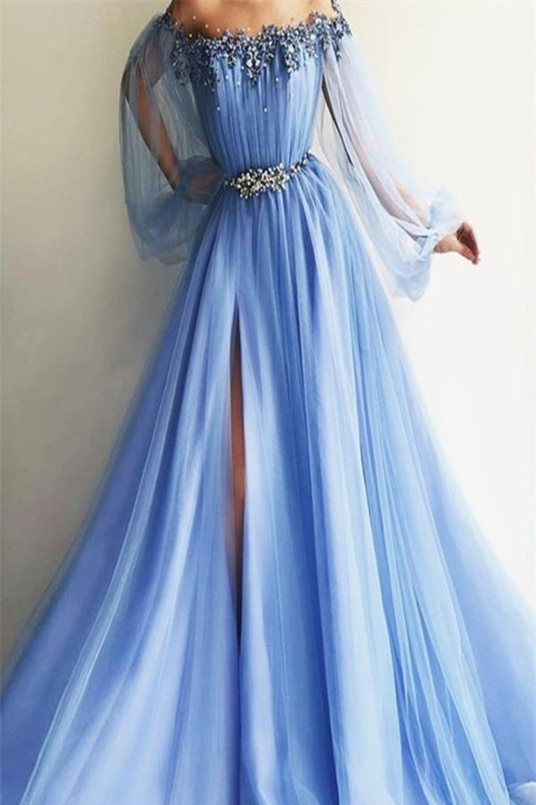 Newest Long Beading Lace Tulle A-Line Blue Prom Dresses Evening Dresses