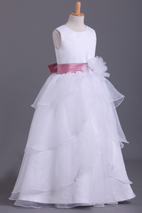 2019 White Flower Girl Dresses Ball Gown Scoop Floor Length Organza