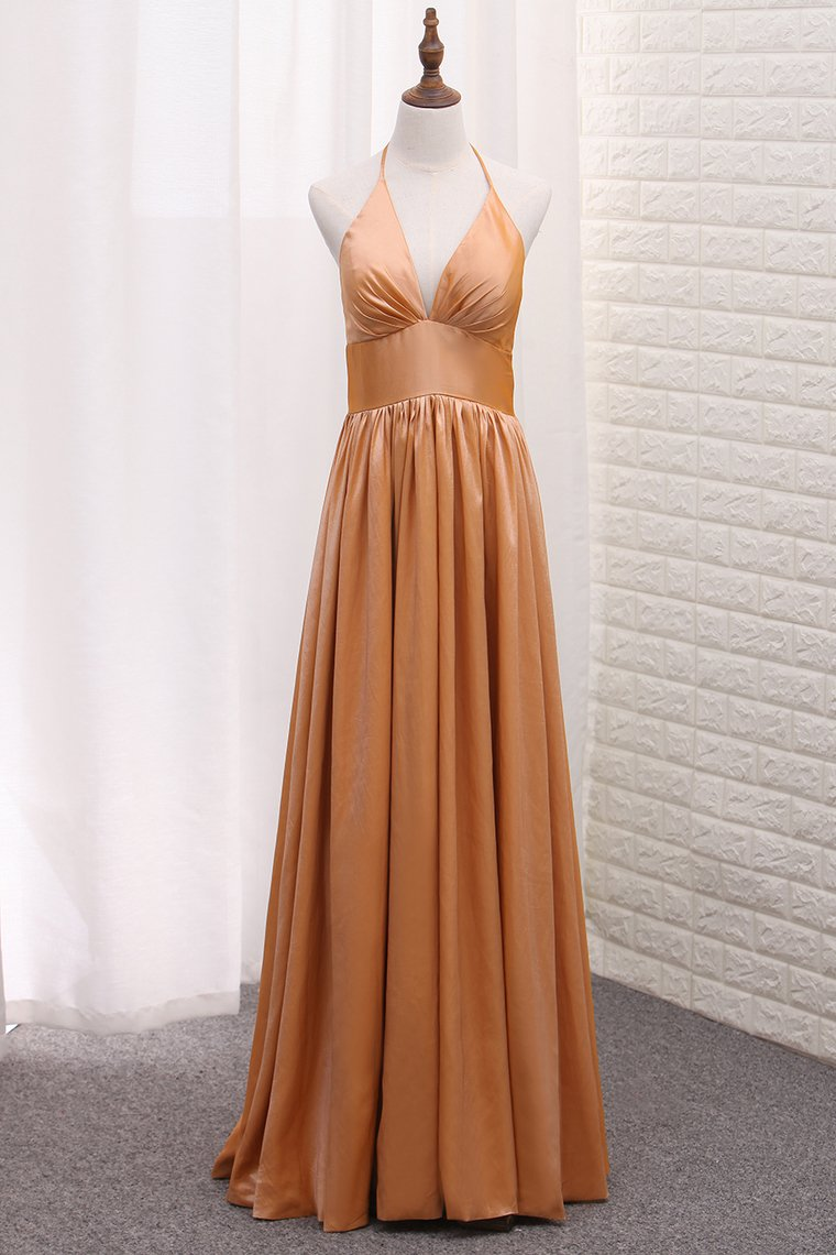 2019 Halter Taffeta A Line Evening Dresses Floor Length Zipper Up