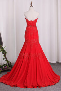 2019 Chiffon Mermaid Sweetheart Prom Dresses With Applique
