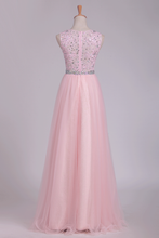 Load image into Gallery viewer, 2019 Prom Dresses A Line Scoop Beaded Bodice Floor Length Tulle