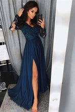 Load image into Gallery viewer, Pretty Long Sleevesl Navy Blue Lace Front Split Prom Dresses Women Dresses