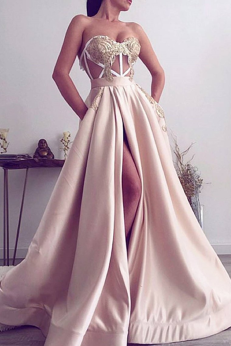 2020 A Line Sweetheart Satin With Applique And Slit Prom Dresses