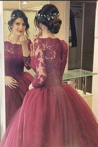 Cheap Burgundy 2019 Lace Three Quarter Sleeve Ball Gown Elegant Long Prom Dresses RS670
