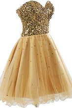 Load image into Gallery viewer, Short Tullle Sequins Homecoming Dress Prom Gown SD032