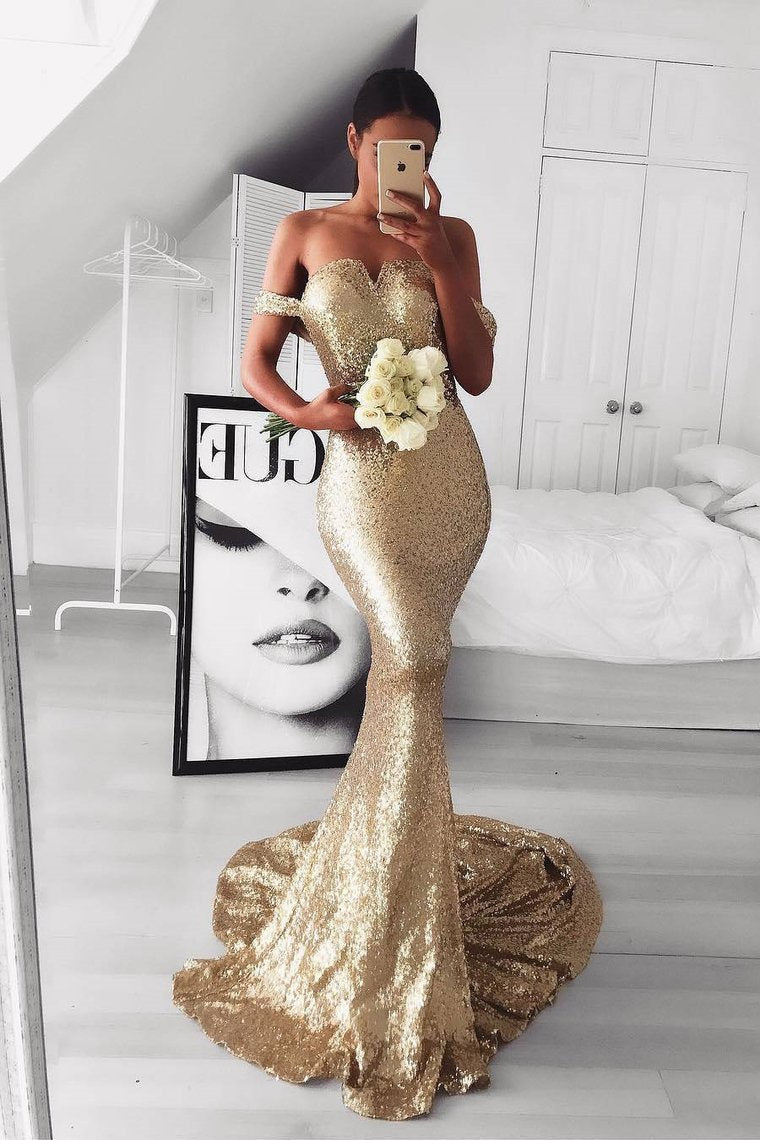 2019 Sequins Prom Dresses Mermaid Off The Shoulder Court Train
